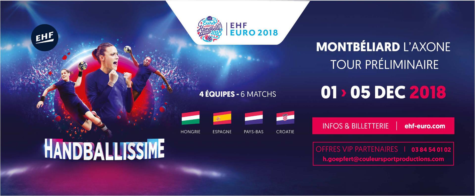 L'EHF EURO 2018 aura lieu à Montbéliard à L'Axone du 01 au 05 Décembre